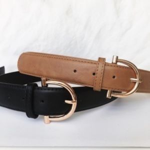 BLACK/GLD - D-Ring Belt